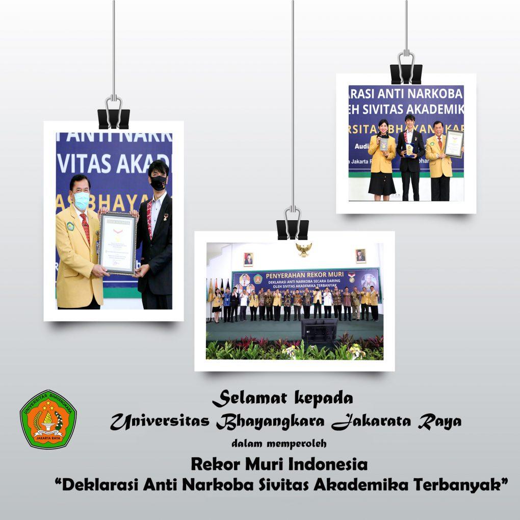 "Universitas Bhayangkara Jakarta Raya telah memperoleh Rekor Muri Indonesia ""Deklarasi Anti Narkoba Sivitas Akademika Terbanyak"""
